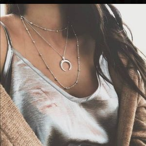 BOHO Moon & Bead Silver Layered Necklace